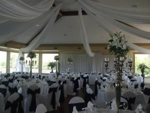 Panorama Wedding Buffet, The Dunes At Kamloops, Kamloops — an elegant wedding for 150 people. Decorations done by Bloom Florist and Viva Bridal.