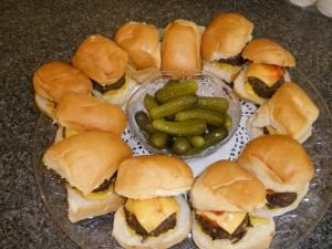 Custom Catering, Culver City — Ground Sirloin Sliders with Cheese, Mayo, Mustard & Ketchup served on a Freshly baked Dinner Roll and