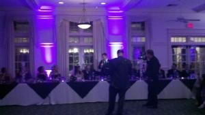 4-Hour Event DJ Package, Solid Gold Productions, Nashua — Uplighting behind the head table.