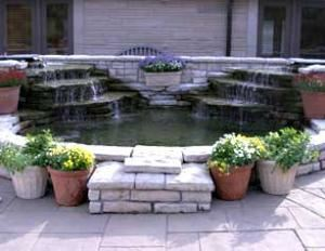 Saturday Rental from $2000, Deer Park Manor, Bloomington — One of our water features.