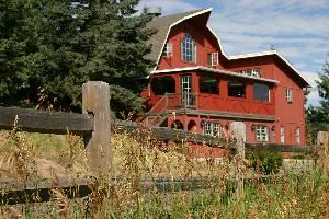 The Red Barn, Meadows at Marshdale, Evergreen — Wooden split-rail fences add to the natural mountain splendor as they line the roadways near The Red Barn and adjoining Meadows at Marshdale property.