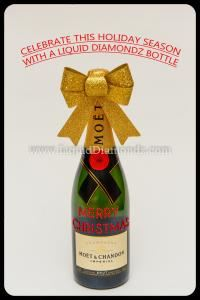 Moet Merry Christmas Champagne Bottle, Liquid Diamondz Personalized Champagne & Wine