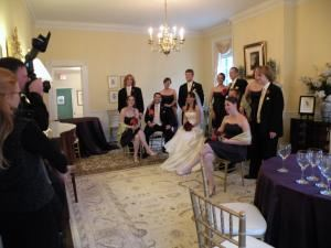The Ballroom, Thomas Birkby House, Leesburg — The Ballroom can accommodate up to 36 for a dinner. In this photo the wedding party is poised for photos.