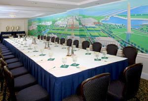 The Federal City Room, Phoenix Park Hotel, Washington — The Federal City Room, which is on our second floor, is large enough to hold up to 60 guests and offers a room-length mural of our Federal City, done by local artist Peter Sawyer.