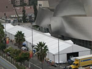 Hollywood Tentworks, Pacoima — Clearspan structure in front of the Disney Concert Hall, Los Angeles, CA