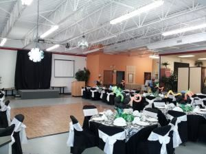 Frisco Party & Event Hall, Frisco — Frisco Party And Event Hall. 214 250-9962 Set up with chairs, tables, table linen, chair covers & decorations.