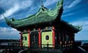 Chinese Tea House, Newport Mansions, Newport — The Chinese Tea House was built on the seaside cliffs where Mrs. Vanderbilt hosted rallies for women's right to vote. She sold the house to Frederick H. Prince in 1932. The Preservation Society acquired the house in 1963 from the Prince estate.