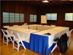 Ceremony/Reception Package, Hakone Estate and Gardens, Saratoga — Business meeting setup. Tables, chairs, setup, table cloths, and marker boards are provided. LCD projector and screen is rentable.
