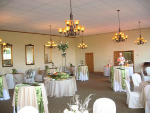 Ruby Wedding Package, Inn at Pocono Manor, Pocono Manor — Manor Hall set for a reception.