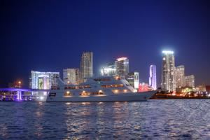 The Lady Windridge Yacht Charter - Up to 430 people, Windridge Yacht Charters, Fort Lauderdale — The Lady Windridge with the Miami skyline as the backdrop