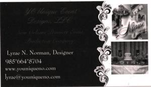 YOUnique Event Designs, LLC, New Orleans — The Premiere New Orleans full service event design company. Weddings, Birthdays, Graduation, Reunions (Family or Classmates), Festivals, Concerts, Fundraising Galas, Public Relations and Marketing. We do it ALL!!! We are here to please YOU!!!