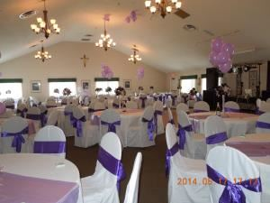 The Silver Plan Starting At $995.00, Father Val Hall, Powhatan — Tables set with long white cloths, chairs covers and purple sashes