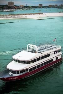 SOLARIS Yacht Event Space for 150 people, SunQuest Cruises, Miramar Beach — Special features for this Destin florida venue include open-air Sky Deck, live entertainment, chef-prepared meals, Destin event planners, full-service bar, all-inclusive location and more.