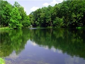 ADERHOLDT MILLS LAKE IN ALABAMA - Aderholdt Mill, situated on the Tallaseehatchee Creek in Jacksonville, began operation in 1836. It was the first grist mill in Calhoun County, and is listed on the National Register of Historic Places.