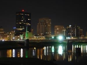 Dayton, Ohio Skyline at Night with River