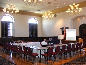 Meeting Room, Gwinnett Historic Courthouse, Lawrenceville — U shape seating Superior Court Ballroom for 32