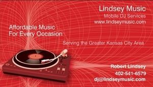 Lindsey Music, Kansas City — Providing quality DJ services to the Greater Kansas City Area.  Affordable music for every occasion.  Give us a call.  You won't be disappointed.