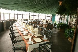 Verandah Room, Savannah Chop House, Laguna Niguel — The Verandah Room is a fully enclosed covered patio with a distant ocean view. This heated room can accomidate up to 45 people maximum, 30 with audio visual equipment.
