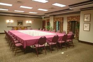 Conference Room, Hampton Inn & Suites Legacy Park-Frisco, Frisco — Our 1,100 sq. ft. meeting room can accommodate a variety of groups. Tables, chairs, linens, flip chart and screen are provided with room rental.
