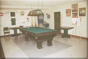 Game Area, American Legion Post 184, Redondo Beach — Vintage billard table & shuffleboard.