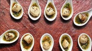 Catering Unlimited, Enfield — Seared Digby Scallops drizzled with roasted Garlic Saffron Sauce on Glass Spoons