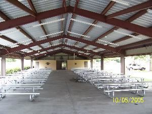 Picnic Pavillion, Shrine Auditorium of Orlando, Orlando — Our large picnic pavillion is equiped with  24 - 16' aluminum picnic tables and has a covered barbeque cooking area and bathrooms.  There is ample parking available and shaded grassy areas for activities.