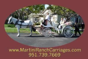 Martini Ranch Carriages, Norco — We are located in the Inland Empire and we travel to most of Southern CA.  Have a look at our beautiful white carriage horses and our traditional white carriage.  We do weddings, quinceaneras, parades, birthday parties, engagements, etc.