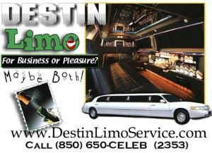 Destin Limo, Destin — Huge discounts for corporate VIP block time bookings from less than $50 per hour. All-inclusive red carpet wedding limousine packages from $380. Cleanest, newest and cheapest limousine services in Destin, Fort Walton Beach, Santa Rosa Beach, Pensacola, Panama City Beach South Walton and 30A areas. We cover all of the Emerald Coast with our professional limousine service.