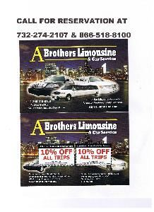 A Brothers Limousine, Edison — CALL FOR RESERVATION AT 732-274-2107