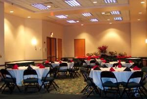 Ballroom 111, Sharonville Convention Center, Cincinnati — Small Banquet Set for 40.