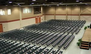 North Hall, Sharonville Convention Center, Cincinnati — Exhibit Hall Set for Graduation Ceremony.
