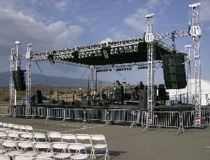 Morningstar Productions, LLC, Murrieta — Conplete concert package. Self Climbing Roof Structure, Staging, Audio and lighting.