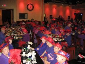 Main Room, Visani Restaurant And Banquet Hall, Punta Gorda — Here is a picture of an event that we had for 200 red hat ladies. From corporate events to weddings, Visani will make your party a success!