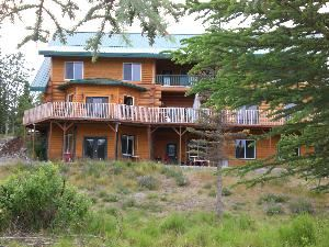 deck, Crooked Creek Retreat The Retreat, Kasilof — view of deck from the creek side.