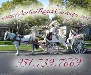 Martini Ranch Carriages, Norco — White horse drawn carriages for most of Southern California; including Orange County and the Inland Empire.