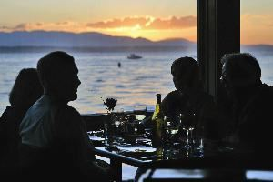 Ray's Boathouse (fine dining restaurant), Ray's Boathouse, Cafe & Catering, Seattle — Ray's Boathouse, a sunset supper