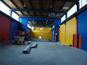 Entire Facility, Pump it Up - Chicago, Chicago — Here is a birds eye view.  You can request the room with nothing or with inflatables.  (Next Picture)  Tables and chairs may be rented and put in place on the inflatables.