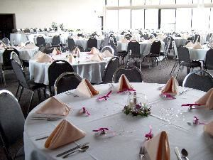 Main Hall, Our Lady of Perpetual Help Parish Center, Aurora — Neutral decor enhances your choice of decoration and color.