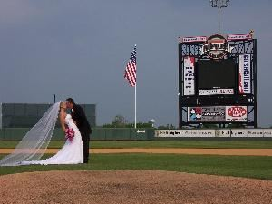 Ripken Stadium, Aberdeen — Wedding Parties can get taken on the field before their Reception or after the Ceremony if held at the stadium.