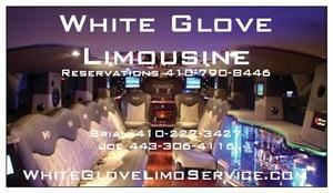 White Glove Limo Service, Severn — We take pride in our White Glove treatment of our clients. Our Chauffeurs our very highly skilled professionals who offer impeccable service and personal attention. We are dedicated to going the extra mile to make your day memorable. 