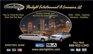 "Starlight Entertainment & Limousine LLC, Port Richey — STARLIGHT ENTERTAINMENT & LIMOUSINE LLC is known throughout the Luxury Transportation Industry as providing ""Highest Quality services with the Most Reasonable Rates"". Professionally Chauffeured Limousines with exceptional VIP service for Corporate Executives, Entertainers, Weddings, Bachelor(ette) parties, Graduations, Proms, Concerts, Airports, Casino's, Stadiums & Funerals - ALL OCCASIONS:""We provide an exclusive array of Specialty Service"" as well."