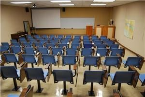 "Classroom 1, Asbury Theological Seminary, Wilmore — This classroom features ""stadium"" seating for approximately 80 as well as built-in A/V equipment."