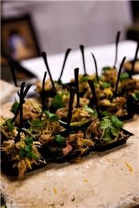 All About Catering Co., Phoenix — Southwestern Black Bean Cake with Pulled Pork