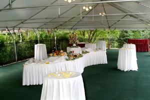 Garden Gazebo and Tented Reception Area, The Inn At Chester Springs, Exton — Outdoor Cocktail Hour served under the tent adjacent to the Garden Gazebo and overlooking the pool.