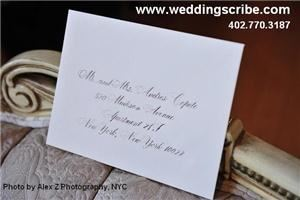 Calligraphy for Weddings by Anne Sheedy - Lincoln, Lincoln — This is a Classic Crane's envelope with Citadel style hand-lettered calligraphy.  The photo was taken by AlexZ Photography, NYC.