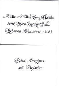 Carolina Calligraphy Services- Nationwide Service- FREE MAILED SAMPLES, Charleston