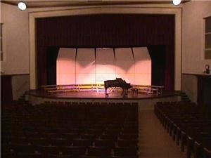 Entire Facility, Marshfield Auditorium, Coos Bay — Stage dimensions are 40' wide and 35' deep. Main floor seats 830 and balcony seats 270. Stage has a large down stage thrust ideal for performers. Two road show conections (200 & 300 amps single phase) are available stage left. Load in is an easy, direct, level 40' behind the stage. The loading dock is level and can accomodate one semi-truck. Ample parking is available at the stage enterance. Green room is adjacent to back stage.