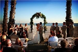 La Palapa Del Mar, Long Beach — Beach front wedding ceremonies with panoramic views of the Pacific Ocean, Queen Mary, Catalina Island & City lights at night.