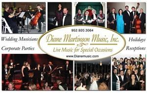 Diane Martinson Live Music, Inc. - Bloomington, Minneapolis — Musicians and Bands for Parties, Weddings & Events: vocalist, classical musicians, jazz duo, trio, quartet, swing quintet, variety band, Carolers and holiday jazz musicians
