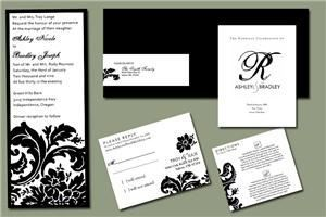 Red Pearl Designs - Bend, Bend — Black and white damask themed invitation set which included the main invitation, reply card, direction card, black envelope with custom wrap-around label, and wedding program.
